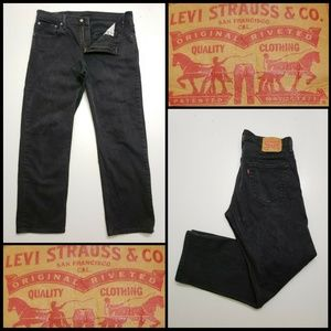 Levi's 569 Men Denim Black Straight Jeans Size 34